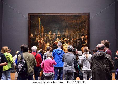 Amsterdam, Netherlands - May 6, 2015: Visitors At The Famous Painting
