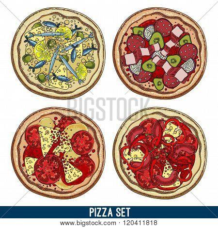 set of four pizzas