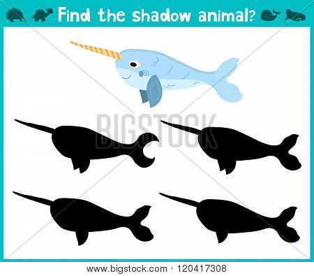 Educational Children Cartoon Game For Children Of Preschool Age. Find The Right Shade Cute Narwhal S
