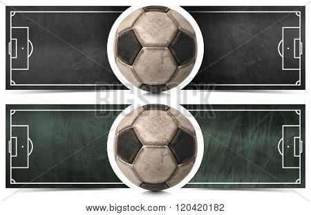 Two Football Banners With Blackboard