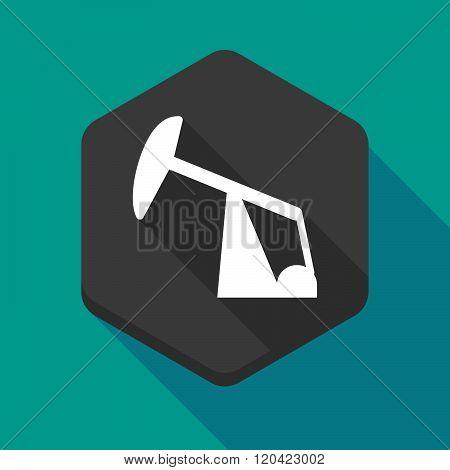 Long Shadow Hexagon Icon With A Horsehead Pump
