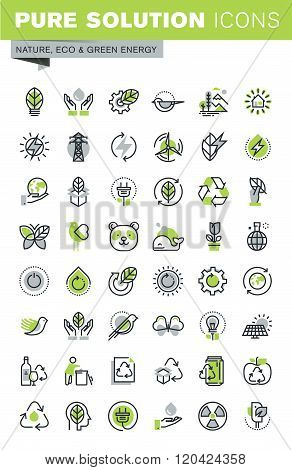 Thin line icons set of recycling theme and environment