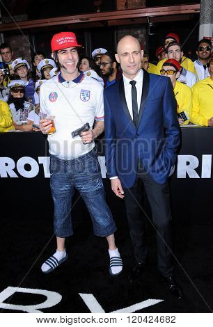 Sacha Baron Cohen and Mark Strong at the Los Angeles premiere of 'The Brothers Grimsby' held at the Regency Village Theatre in Westwood, USA on March 3, 2016.
