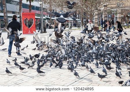 Doves And Ordinary People On Konak Square