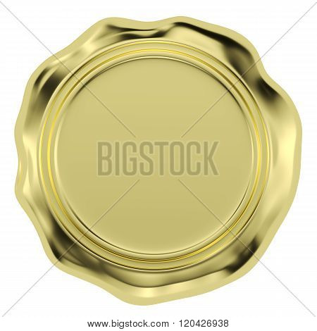 Golden Wax Seal Isolated On White Background