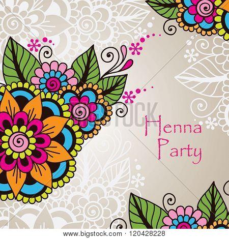 Doodle Vector Illustration Design Element. Flower Ornament Frame.