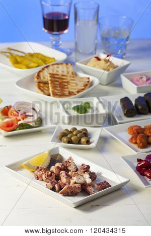 Greek Starters With Wine