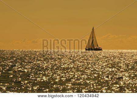 Yacht sailing against sunset