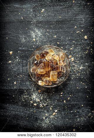 Crystalline Cane Sugar In A Saucer.