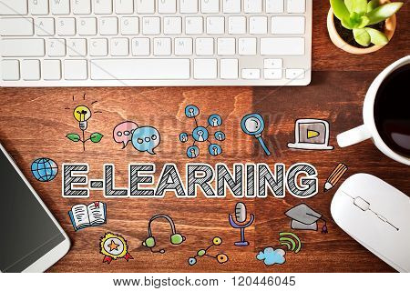 Elearning Concept With Workstation