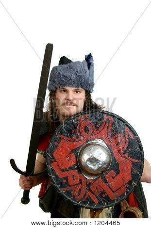 man in medieval clothes with a sword poster