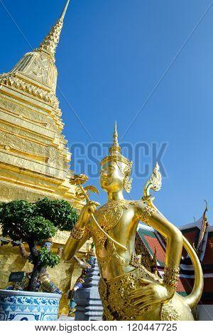 Golden Angel ith Pagoda Wat Pra Kaeo, Grand Palace, Bangkok ,Thailand