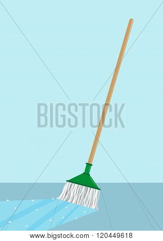 Mop cleaning a floor concept. Editable Clip Art.