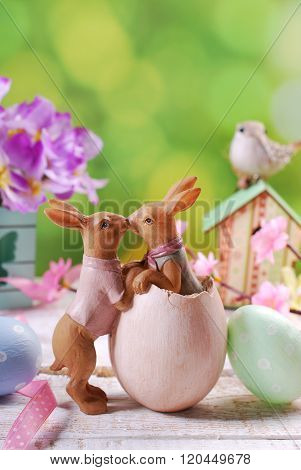 Easter Card With Kissing Rabbits On Spring Background