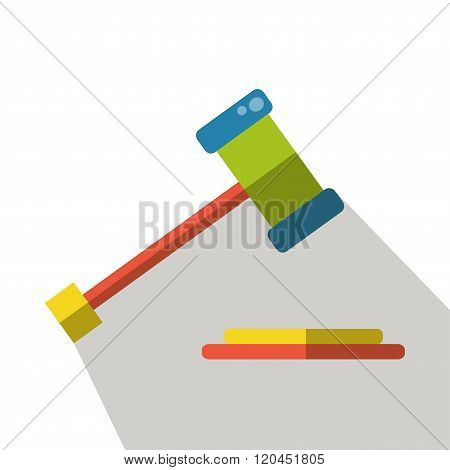 Judge gavel icon vector isolated flat side view