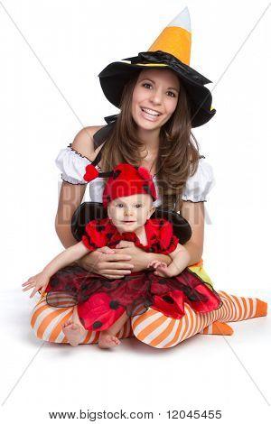 Mother daughter wearing halloween costume