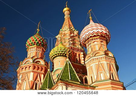 Saint Basil Cathedral and Vasilevsky Descent of Red Square in Moscow Kremlin, Russia