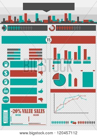 Infographics City Red