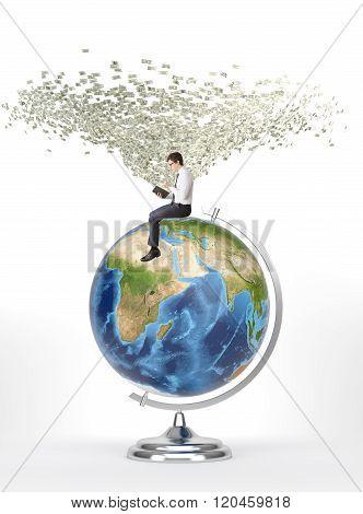 Man With Book Sitting On Terrestrial Globe