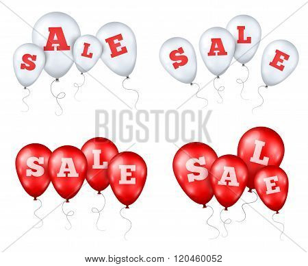 Red and White Balloons with Sale letters