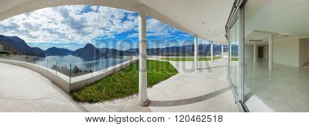 Architecture, big porch of a modern penthouse, panoramic view
