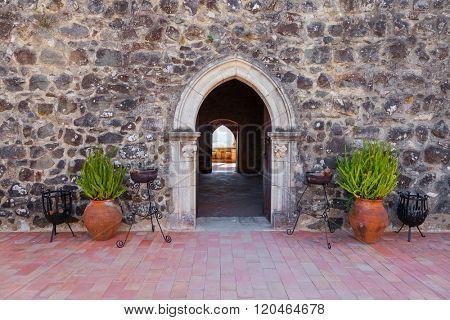 Gothic door of the Palatial Residence (Pacos Novos) of the Leiria Caste. Leiria, Portugal.
