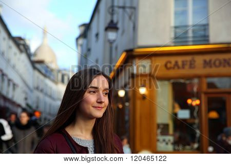 Portrait Of Beautiful Girl On Montmartre In Paris, France
