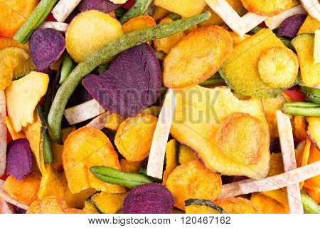Background Food Texture Of Healthy Veggie Chips