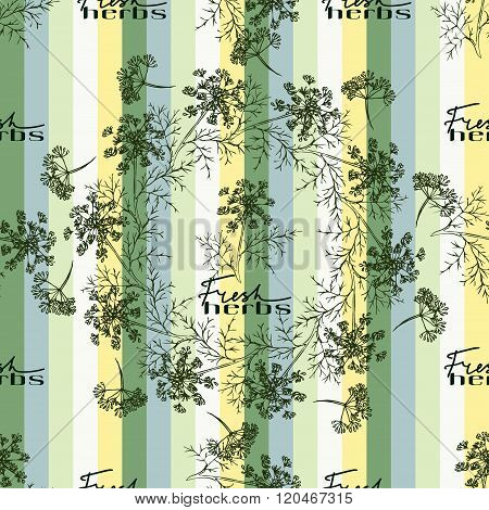 Seamless pattern drawing dill or fennel and text