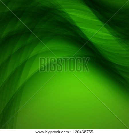 Abstract Green Background With Wave. Vector Illustration