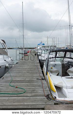 Yachts Near The Mooring