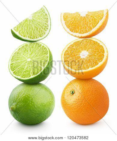 Ripe orange and lime citrus fruit isolated on white