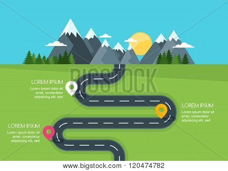 Road With Markers, Vector Infographics Template. Winding Road In Green Field And Mountains.