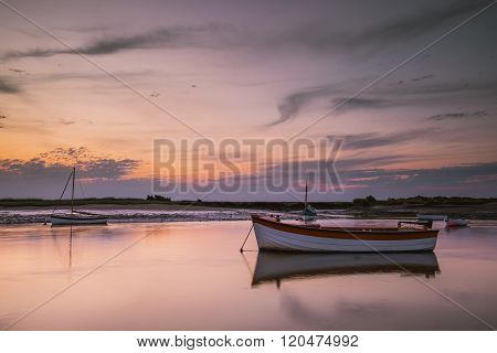 The island ferry boat at Burnham Overy Staithe. poster