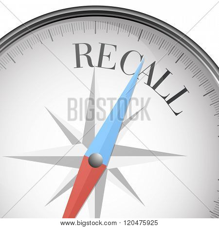 detailed illustration of a compass with Recall text, eps10 vector