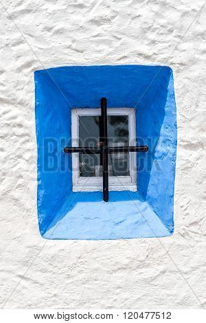 Blue Window on white House in Spain