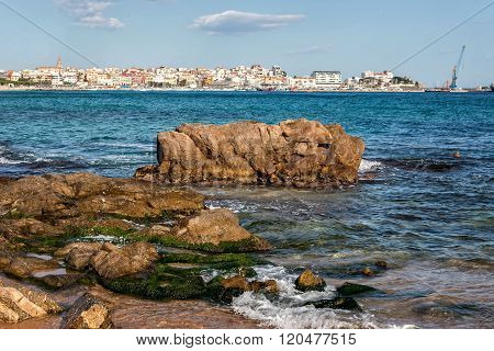 Beautiful coastal landscape in Spain, town Palamos