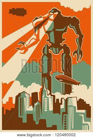 Retro illustration with giant robot. Vector illustration.