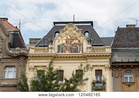 Mosaic On House Pediment In Budapest