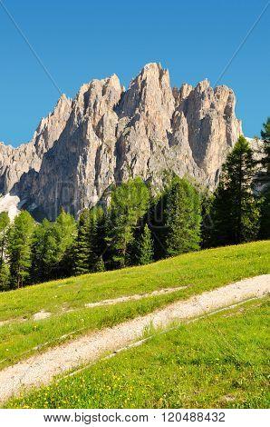 Dolomite peaks Rosengarten in Val di Fassa, Italy Alps