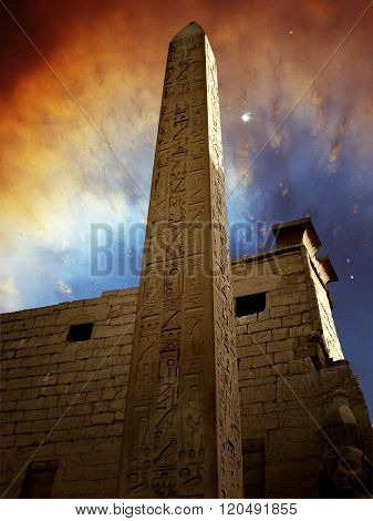 Monolith In The Temple Of Luxor And Ring Nebula (elements Of Thi