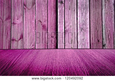 Rustic pink / purple wooden backdrop, pastel background design, wood floor with diminishing perspective, for business products / design.