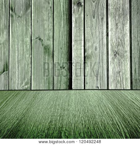 Rustic, wooden, pastel background design, pale green wood backdrop with diminishing perspective, for business products / design.