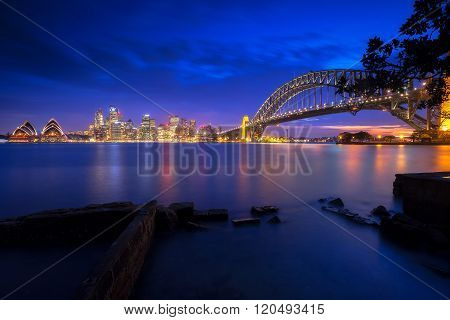 Sydney skyline view at night, City at night concept.