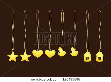 Set Of Golden Pendants