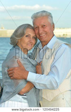 Elderly couple near river