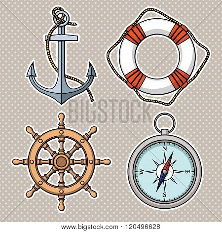 Vector set with isolated anchor, lifebuoy, ship's wheel, compass.