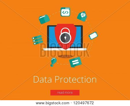 Data protection and safe work. Flat design vector