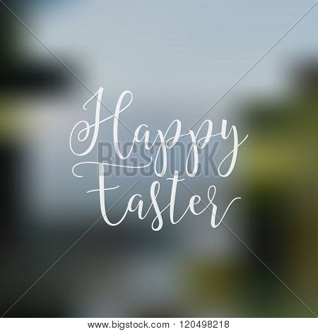 Easter sign - Happy Easter. Easter wish overlay, lettering label design. Retro holiday badge. Hand l