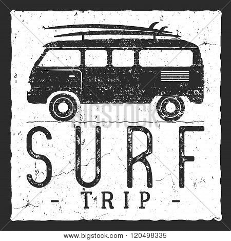 Surf trip concept. Vector Summer surfing retro badge. Beach surfer emblem , rv outdoors banner, vint